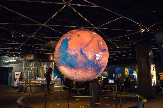 Mars projected on globe Denver Science Museum